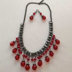 Red Beaded Fringe Jewelry Set - Necklace/Earrings